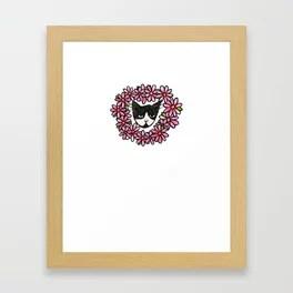 Tuxedo Kitty Cat Love Framed Art Print