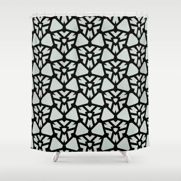 Pastel Green and Black Shield Tile Pattern Pairs Behr 2022 Color of the Year Breezeway MQ3-21 Shower Curtain. 2022 color trend