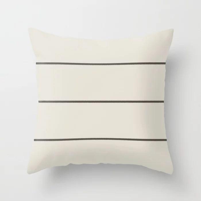 Dark Brown Cream Minimal Thin Line Pattern 2021 Color of the Year Urbane Bronze and Shoji White Throw Pillow