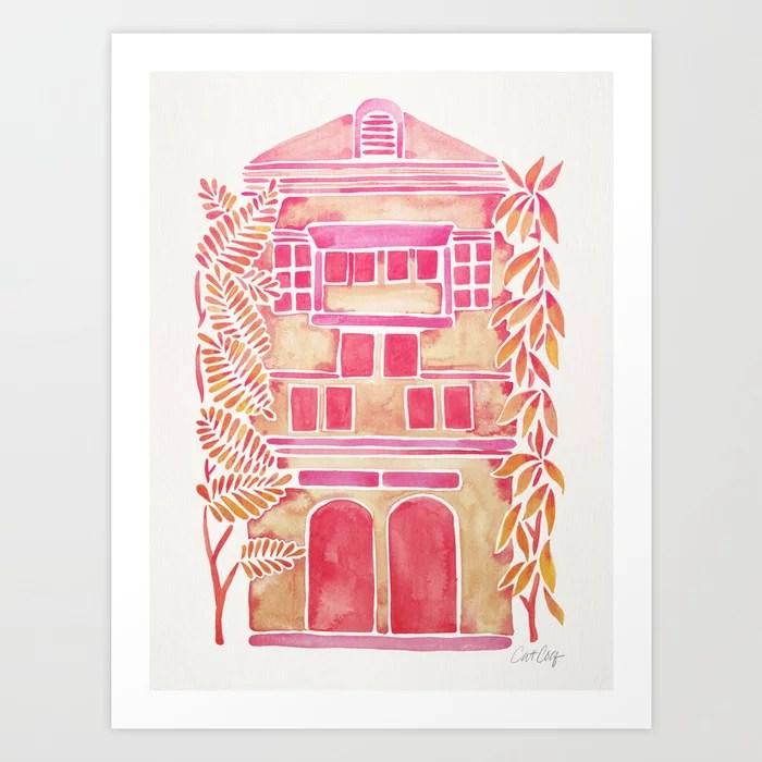 Sunday's Society6 | Tropical pink ombré house art print