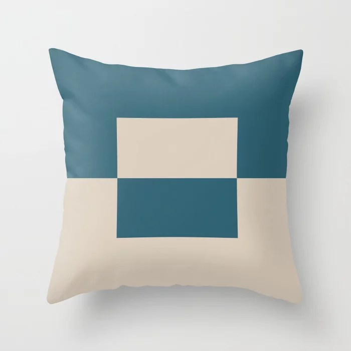 Light Beige Aqua Blue Minimal Square Design 2: Hues were inspired by and match (pair / coordinate with) 2021 Color of the Year Uptown Ecru and Deep Lagoon Throw Pillow