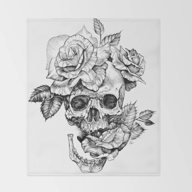 Black and White skull with roses pen drawing Throw Blanket by sarachnid