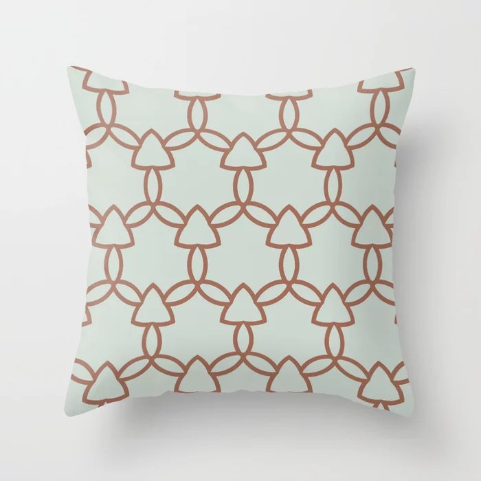 Mint Green and Terracotta Tessellation Pattern 29 Behr 2022 Color of the Year Breezeway MQ3-21 Throw Pillow. 2022 color scheme, trending interior design hue.