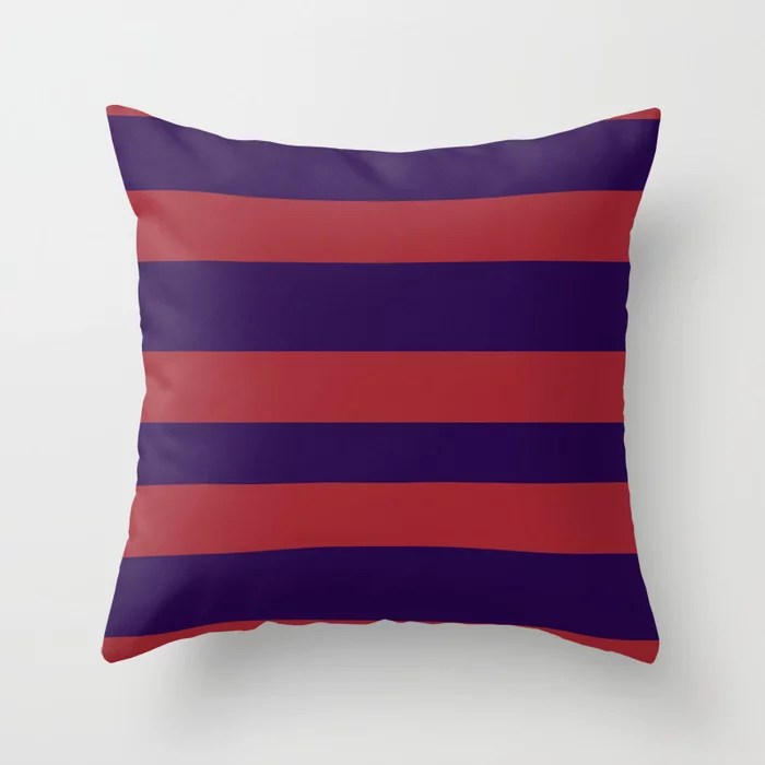 Red and Purple Wide Stripe Pattern 2021 Color of the Year Satin Paprika and Purple Throw Pillow