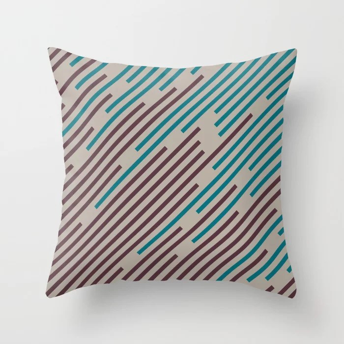 Deep Purple Taupe Gray Aqua Diagonal Line Pattern Throw Pillows inspired by and pairs to (matches / coordinates with) Graham and Brown 2021 Color of the Year Epoch and Accent Shades