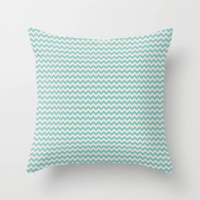 Pastel Teal and Cream Chevron Line Pattern 2021 Color of the Year Aqua Fiesta and Horseradish Throw Pillow