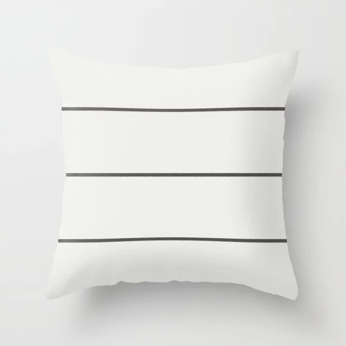 Dark Brown Off-White Minimal Thin Line Pattern 2021 Color of the Year Urbane Bronze & Extra White Throw Pillow