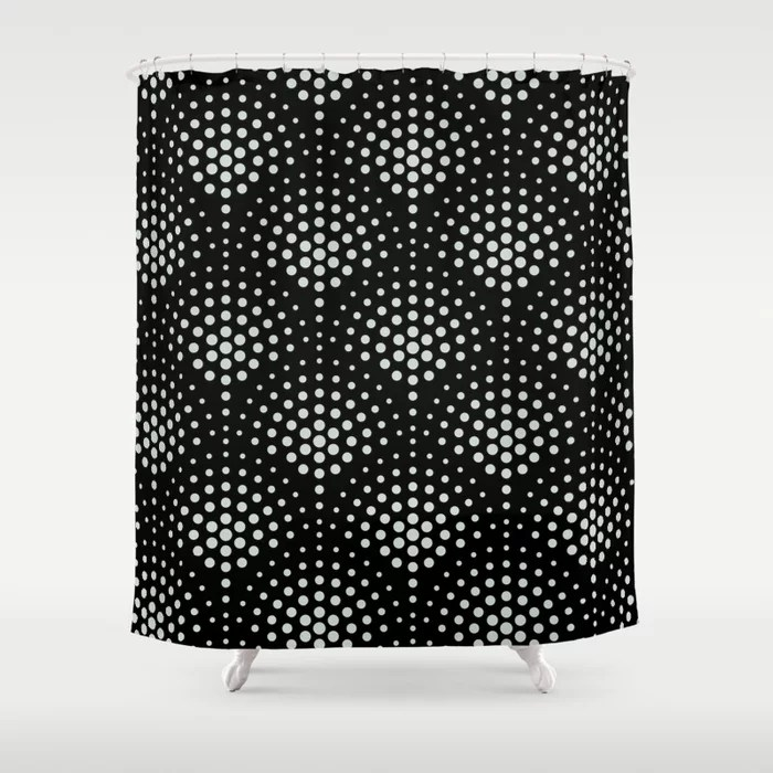 Mint Green and Black Polka Dot Scallop Pattern Behr 2022 Color of the Year Breezeway MQ3-21 Shower Curtain. 2022 color trend