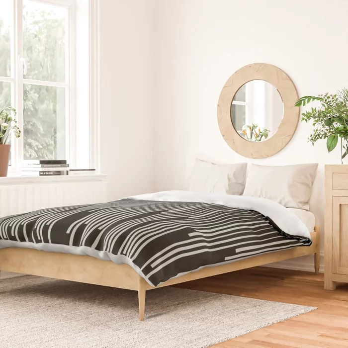 Pastel Green and Black Stripes Line Art Pattern Pairs Behr 2022 Color of the Year Breezeway MQ3-21 Duvet Cover
