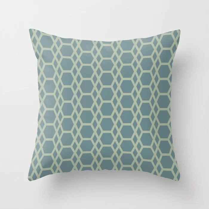 Blue-Green Line Pattern 13 Hexagon Diamond 2 2021 Color of the Year Aegean Teal and Salisbury Green Throw Pillow