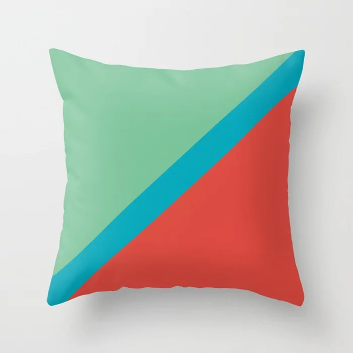 Blue-Green Red Green Diagonal Stripe Pattern 2021 Color of the Year AI Aqua 098-59-30 Throw Pillow