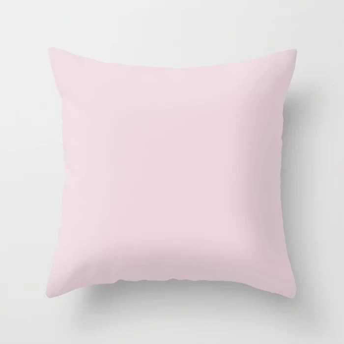 Ultra Pale Pastel Pink Solid Color (Hue / Shade) Matches Sherwin Williams Lighthearted Pink SW 6568 Throw Pillow