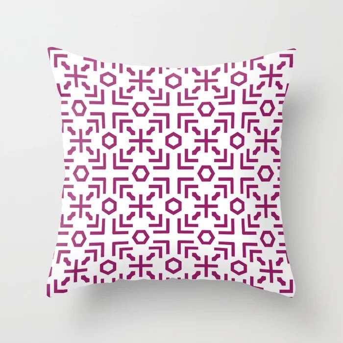 Magenta and White Art Deco Abstract Pattern - Colour of the Year 2022 Orchid Flower 150-38-31 Throw Pillow