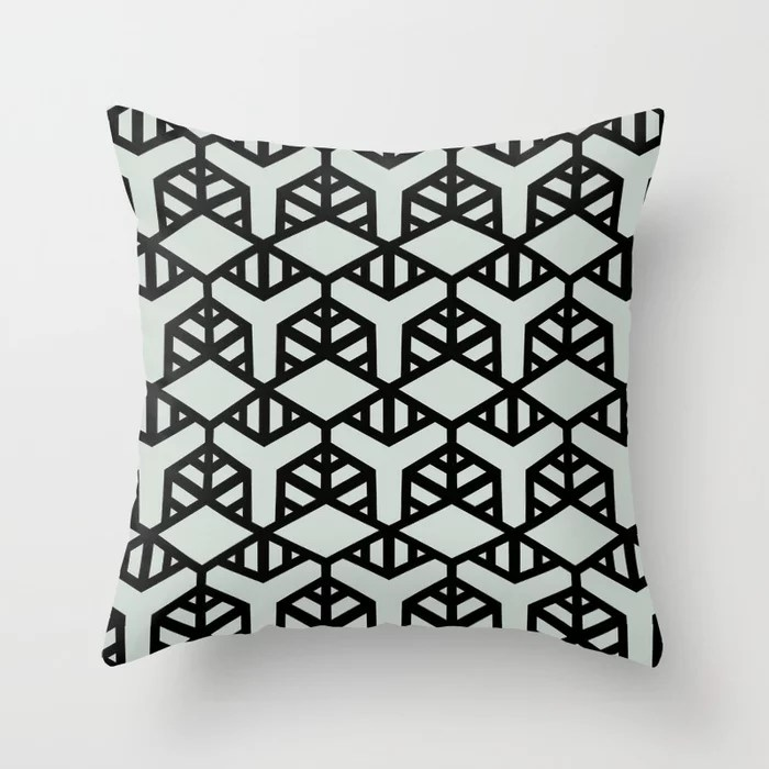 Pastel Green and Black Shape Tile Pattern 2 Throw Pillow Pairs Behr 2022 Color of the Year Breezeway MQ3-21 Throw Pillow . 2022 color scheme, trending interior design hue.