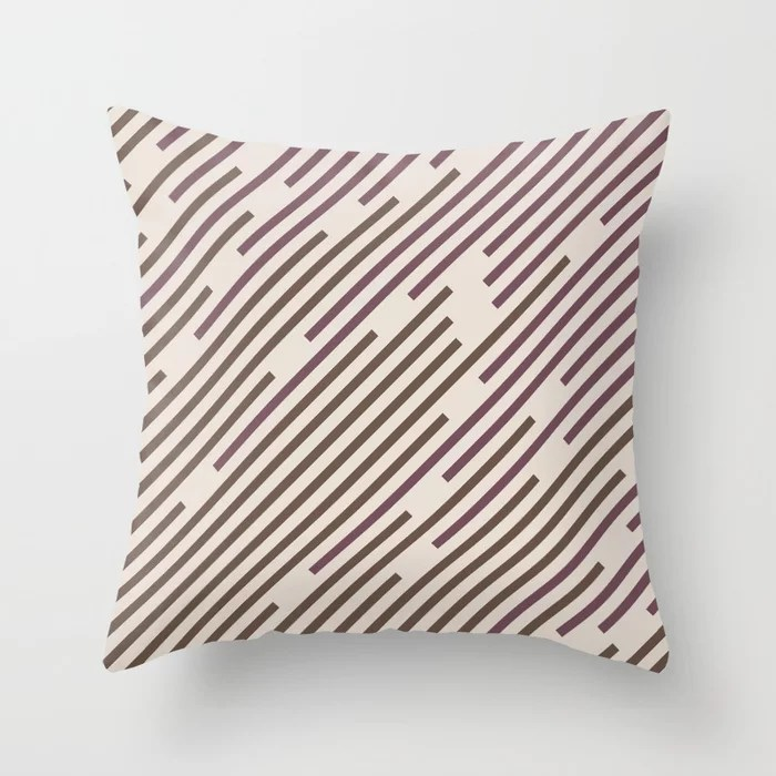 Creamy Off White Dark Purple Mid-tone Brown Lines 2021 Color of The Year Canyon Dusk Accent Shades Throw Pillow