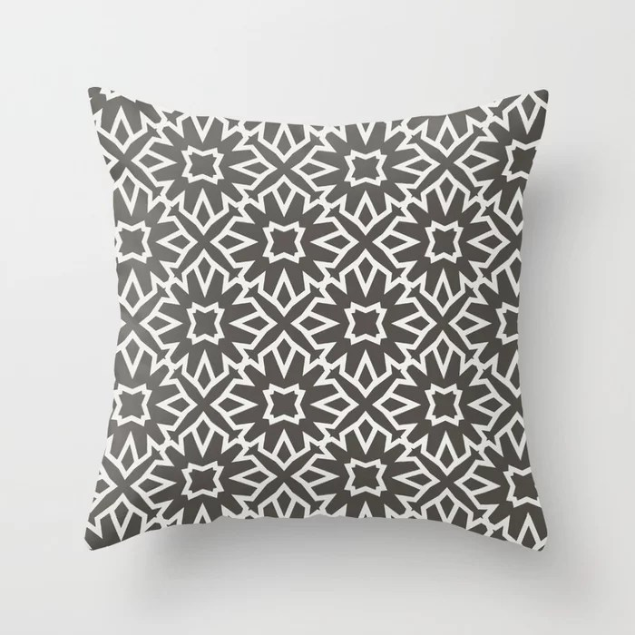 Brown and White Line Art Pattern 5 Flower 2021 Color of the Year Urbane Bronze and Extra White Throw Pillow