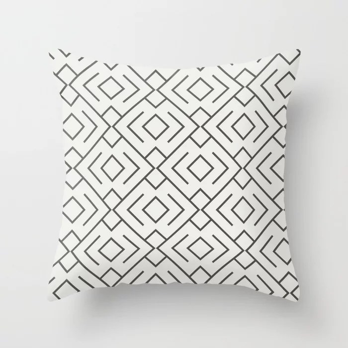 Brown And White Abstract Shape Pattern 4 V2 Throw Pillow Matches Sherwin Williams Paints 2021 Color of the Year Urbane Bronze and Extra White