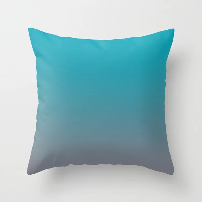 Aqua Blue and Gray Gradient Ombre Blend 2021 Color of the Year AI Aqua and Good Gray Throw Pillow