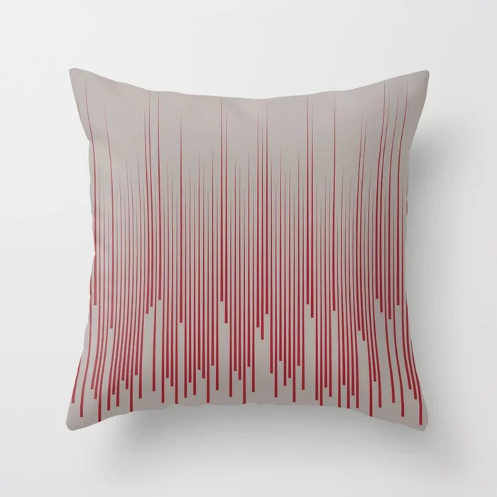 Red and Gray Minimal Frequency Line Art Pattern 2021 Color of the Year Satin Paprika and Satin Drift Throw Pillow