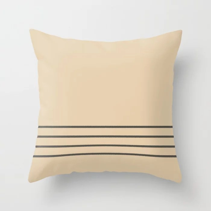 Brown and Tan Minimal Thin 4 Stripe Pattern V2 Throw Pillows match and coordinate with Sherwin Williams Paints 2021 Color of the Year Urbane Bronze and Ivoire
