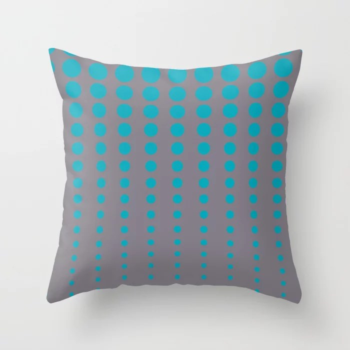 Aqua Blue and Gray Reduced Polka Dot Pattern 2021 Color of the Year AI Aqua and Good Gray Throw Pillow