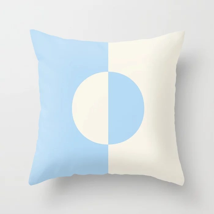 Baby Blue and Off-White Minimal Circle Design 2021 Color of the Year Wild Blue Yonder Swiss Coffee Throw Pillow