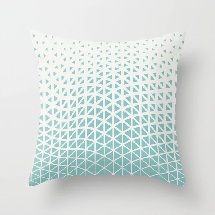 Pastel Teal and White Geometric Wave Pattern 2021 Color of the Year Aqua Fiesta & Delicate White Throw Pillow