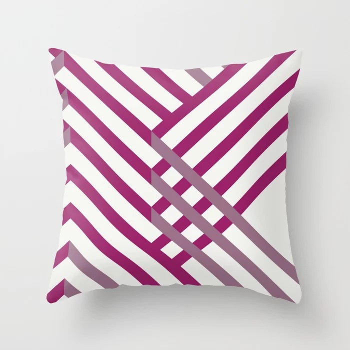 Magenta, Gray and White Diagonal Stripe Pattern - Colour of the Year 2022 Orchid Flower 150-38-31 Throw Pillow