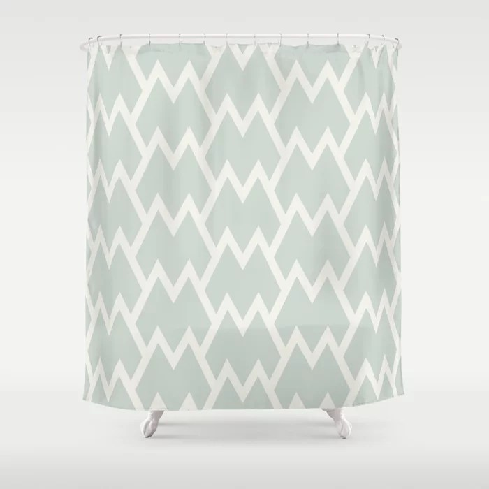 Mint Green and Cream Tessellation Pattern 18 Behr 2022 Color of the Year Breezeway MQ3-21 Shower Curtain. 2022 color trend