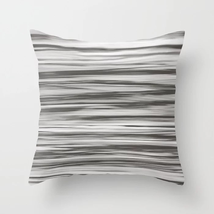 Brown White Soft Focus Motion Stripes Watercolor 2021 Color of the Year Urbane Bronze Throw Pillow