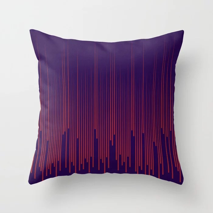 Red and Purple Minimal Frequency Line Art Pattern 2021 Color of the Year Satin Paprika and Purple Throw Pillow