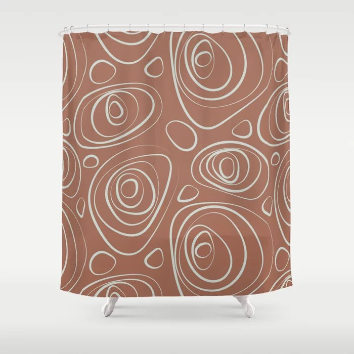 Mint Green and Terracotta Retro Circle Pattern Behr 2022 Color of the Year Breezeway MQ3-21 Shower Curtain. 2022 color trend