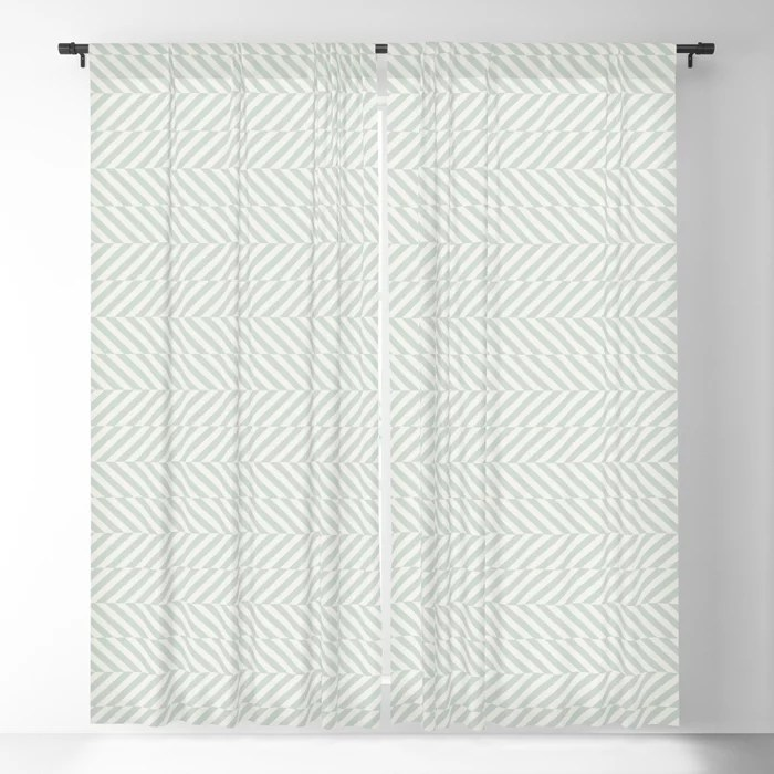 Pastel Green and Cream Stripe Pattern Pairs Behr 2022 Color of the Year Breezeway MQ3-21 Blackout Curtain. Decorating colors for 2022