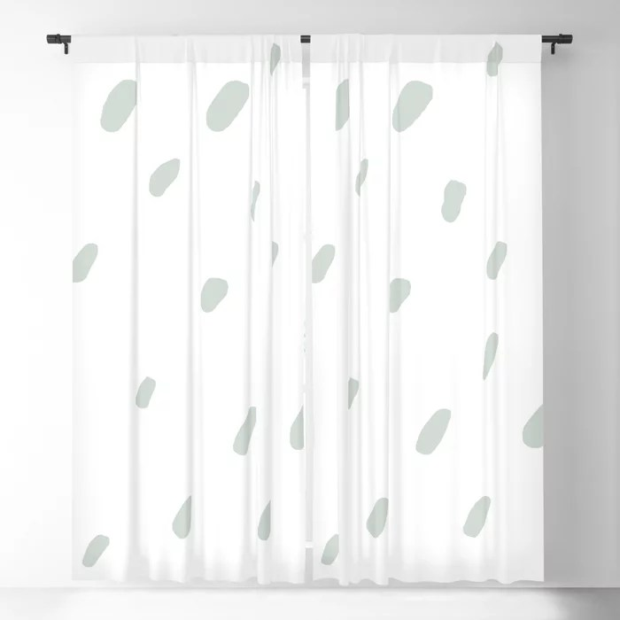 Mint Green and White Spots - Polka Dot Pattern Behr 2022 Color of the Year Breezeway MQ3-21 Blackout Curtain. Color for 2022