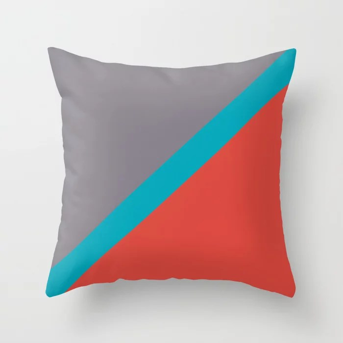 Blue-Green Red Gray Diagonal Stripe Pattern 2021 Color of the Year AI Aqua 098-59-30 Throw Pillow