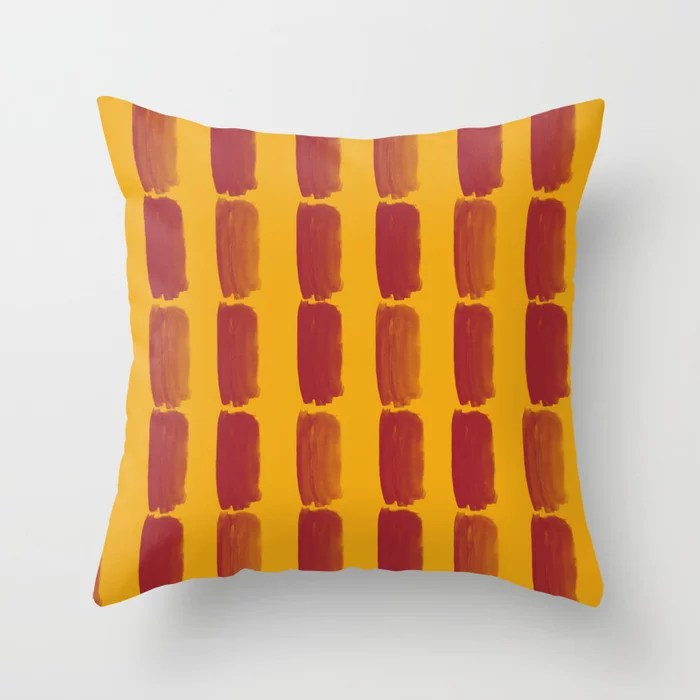 Red and Orange Grid Brushstroke Pattern 2021 Color of the Year Satin Paprika and Satin Harvest Peach Throw Pillow