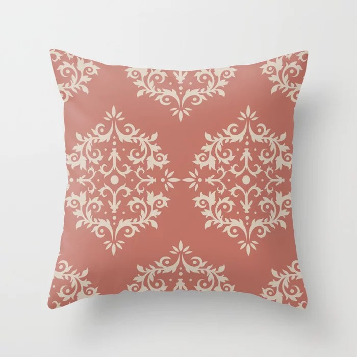 Light Beige Dark Peach Damask Scroll Pattern: Hues were inspired by and match (pair / coordinate with) 2021 Color of the Year Uptown Ecru & Moroccan Clay Throw Pillow