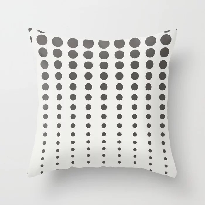 Dark Brown Off-White Reduced Polka Dot Pattern 2021 Color of the Year Urbane Bronze & Extra White Throw Pillow
