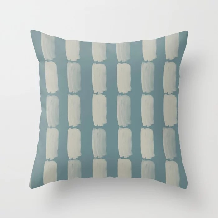 Blue-Green Tan Minimal Grid Brushstroke Pattern 2021 Color of the Year Aegean Teal and Winterwood Throw Pillow