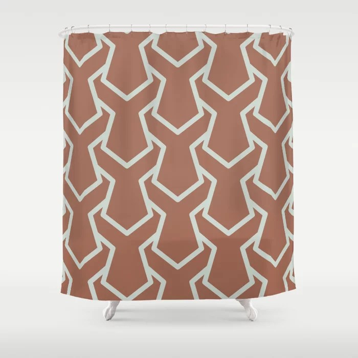Mint Green and Terracotta Tessellation Pattern 11 Behr 2022 Color of the Year Breezeway MQ3-21 Shower Curtain. 2022 color trend
