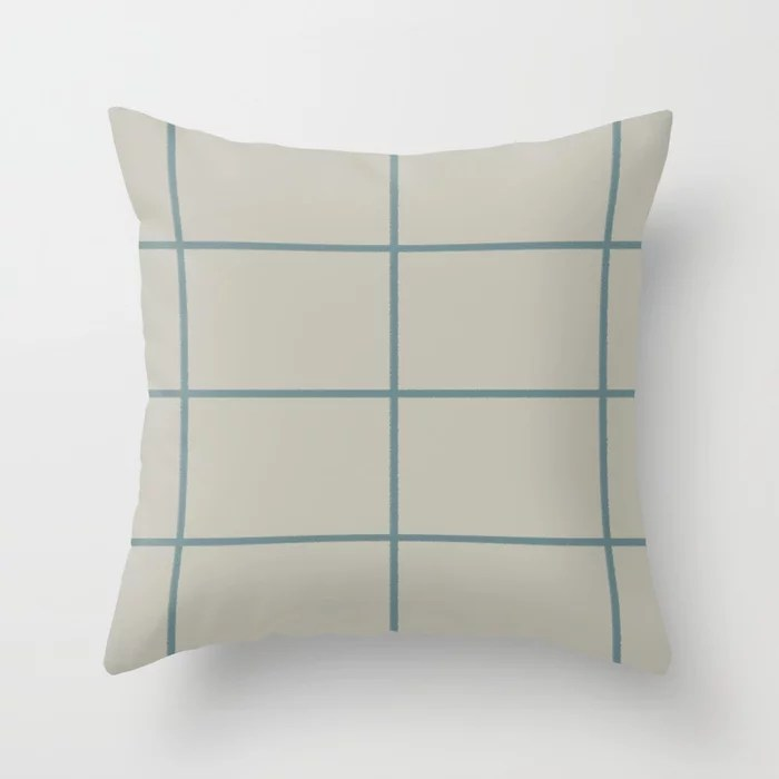 Muted Aqua and Tan Thin Check Pattern 2021 Color of the Year Aegean Teal and Winterwood Throw Pillow