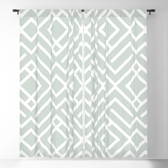 Pastel Green and White Diamond Shape Pattern Pairs Behr 2022 Color of the Year Breezeway MQ3-21 Blackout Curtain. Decorating colors for 2022