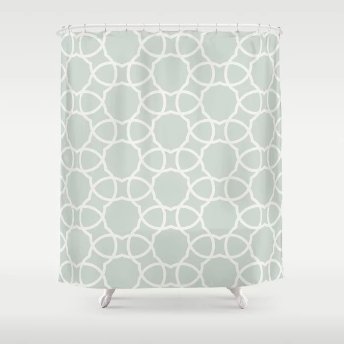 Pastel Green and Cream Petal Tile Pattern Pairs Behr 2022 Color of the Year Breezeway MQ3-21 Shower Curtain. 2022 color trend