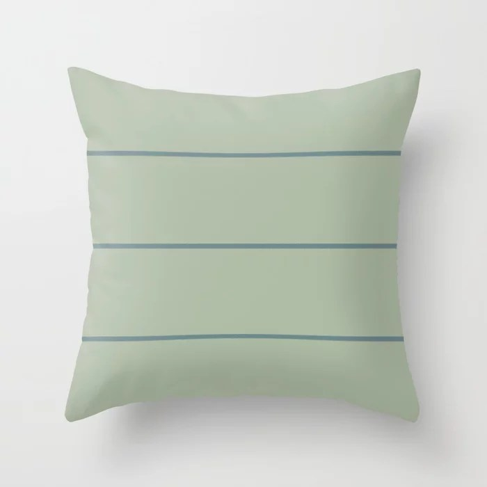 Muted Aqua and Green Thin Stripe Pattern 2021 Color of the Year Aegean Teal & Salisbury Green Throw Pillow
