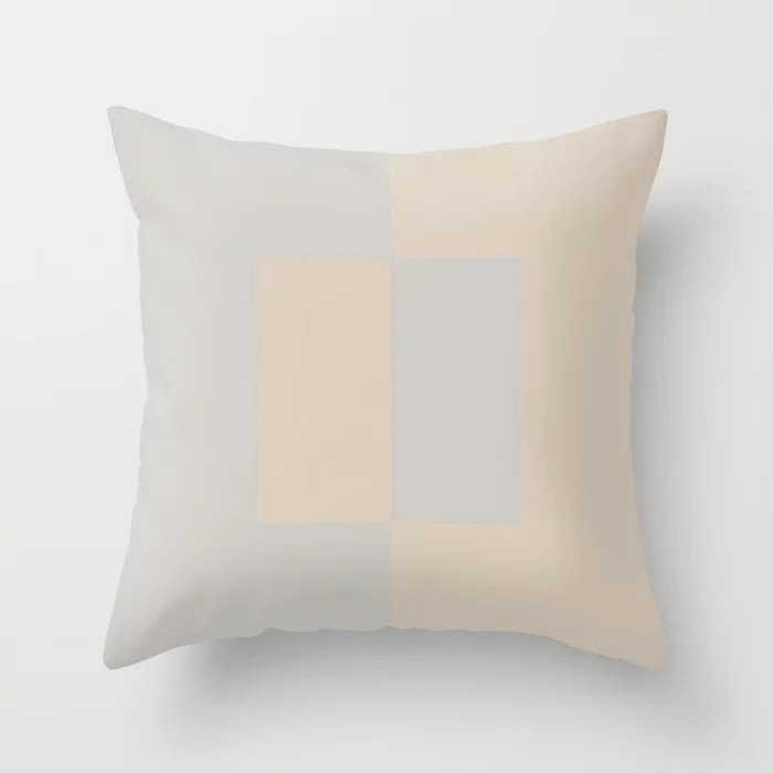 Light Beige Gray Minimal Square Design: Hues were inspired by and match (pair / coordinate with) 2021 Color of the Year Uptown Ecru and Swedish Grey Throw Pillow