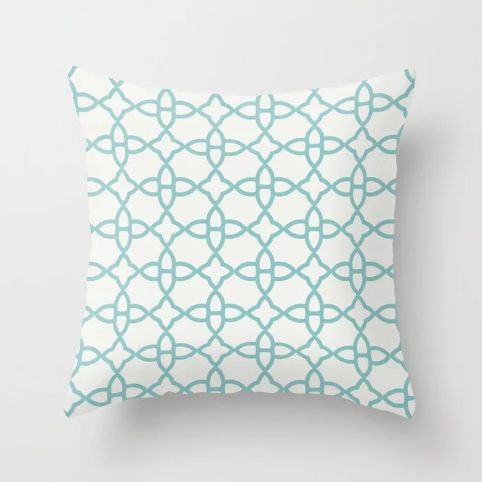 Aqua and White Minimal Line Art Pattern 4 Color of the Year Aqua Fiesta and Delicate White Throw Pillow