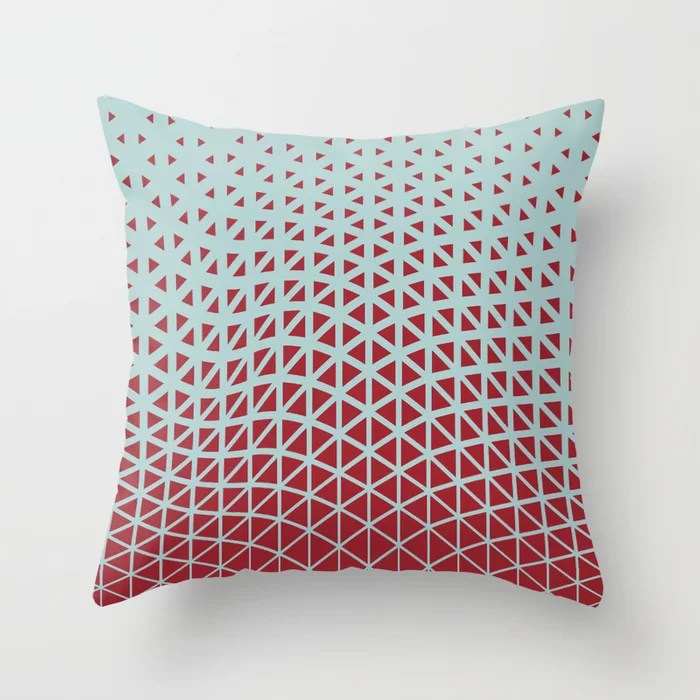 Red and Pastel Blue Geometric Wave Pattern 2021 Color of the Year Satin Paprika Serenity Blue Throw Pillow