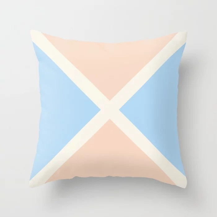 Baby Blue Off-White Peach Diagonal Stripe Pattern 2021 Color of the Year Wild Blue Yonder & Accents Throw Pillow