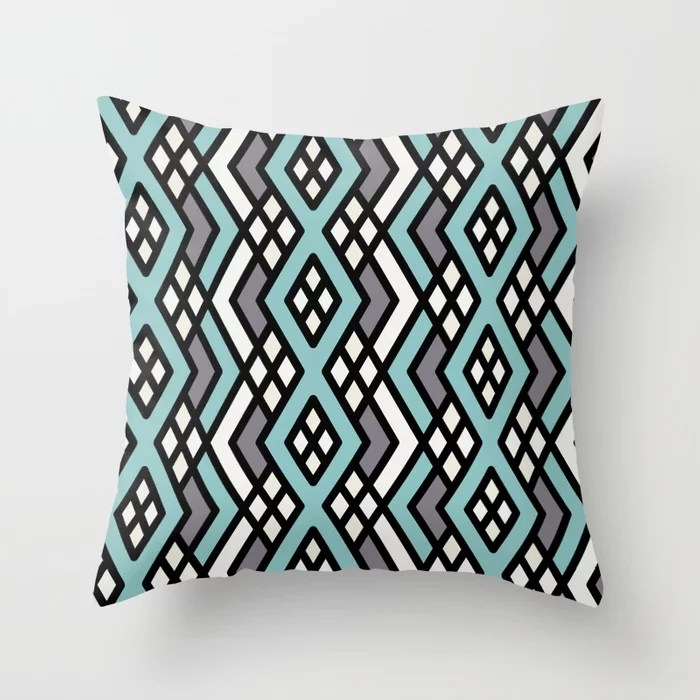 Aquamarine Geometric Mosaic Pattern 3 Pairs 2021 Color of the Year Aqua Fiesta and Accent Shades Throw Pillow