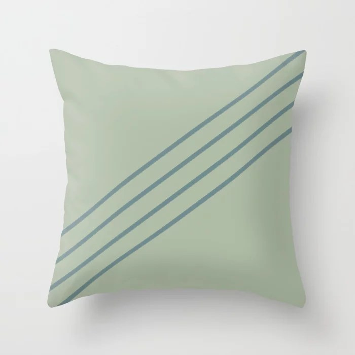 Muted Aqua and Green Line Pattern 2021 Color of the Year Aegean Teal & Salisbury Green Throw Pillow